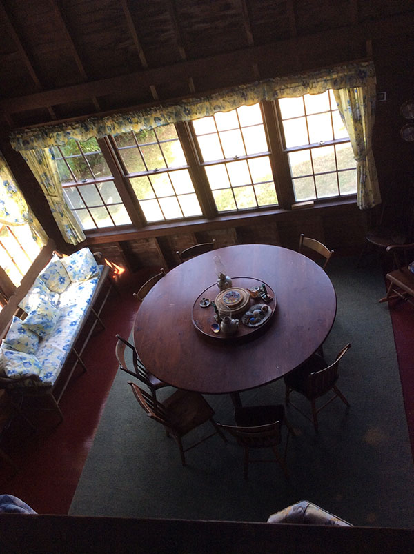 Looking down from the crow's nest over the dining room